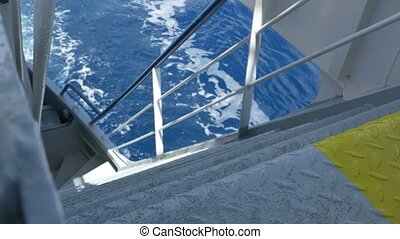 Deck Stairs on Large Ship - Steel stairs view of main deck...