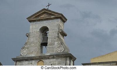 Greek Old Church - Ancient Orthodox Greek church on grey...