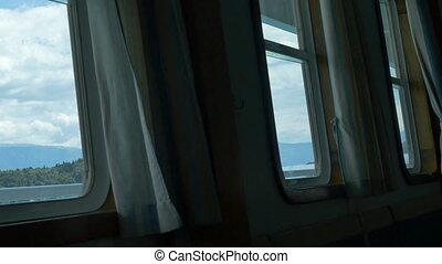 Looking Through Ship Windows - Pan shot to windows inside...