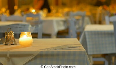 Night Outdoor Restaurant - Romantic view of candle and...