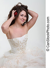Smiling bride in wedding dress
