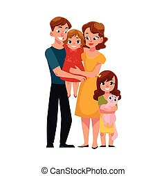 Parents, mom and dad, holding little daughter, loving family portrait