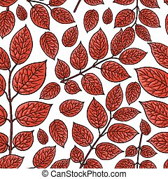 Seamless pattern of birch, honeysuckle red leaves