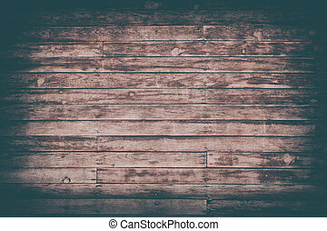 Old brown shabby wooden planks with cracked color paint