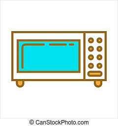 Microwave oven with blue glass - Vector illustration of...
