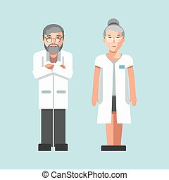 Medical workers or hospital doctors man and woman vector...