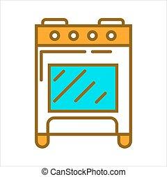 Orange home cooker - Vector illustration of orange colored...
