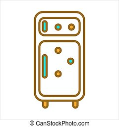 Fridge with circle magnets - Vector illustration of white...