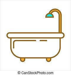 Bath with shower - Vector illustration of white bathtub with...