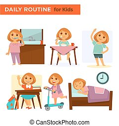 Kids on their daily goings - Vector illustration of children...