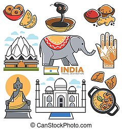 India tourism travel and Indian culture attractions vector...