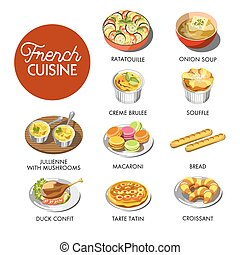 French cuisine menu - Vector illustration of different...