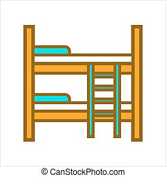 Two tier wooden bed - Vector illustration of wooden bed with...
