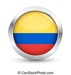 Colombia Flag Icon Badge Vector Button