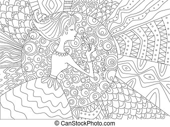 lovely girl with a flower for coloring book
