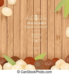 banner with macadamia on wooden background for your design