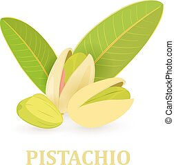 group of pistachios with green leaves for your design