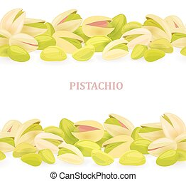 collection of seamless borders with pistachios for your design