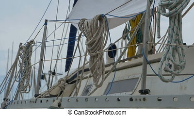 Ropes on Boat - Ropes and hawsers on a boat.