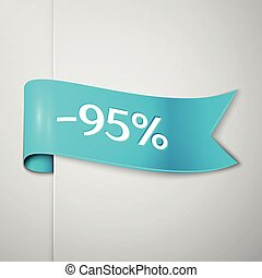 Realistic Cyan ribbon with text ninety five percent for discount on grey background. Colorful realistic sticker, banner for sale, shopping, market, business theme. Vector template for your design