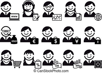 business people vector icon set - business people with...
