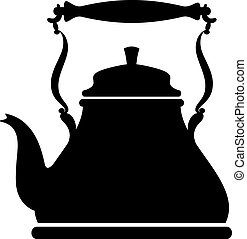 Silhouette of a vintage kettle over white EPS 8, AI, JPEG