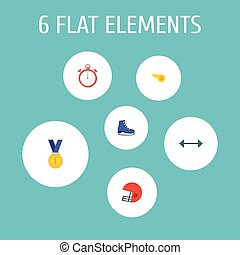 Flat Icons Blower, Rugby, Second Meter And Other Vector Elements. Set Of Fitness Flat Icons Symbols Also Includes Reward, Meter, Weights Objects.