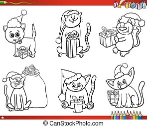 cats on Christmas time set coloring book - Coloring Book...