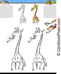 drawing and coloring worksheet with giraffe
