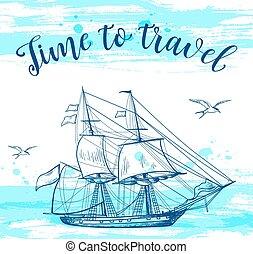Vintage travel background - Vintage vector travel background...