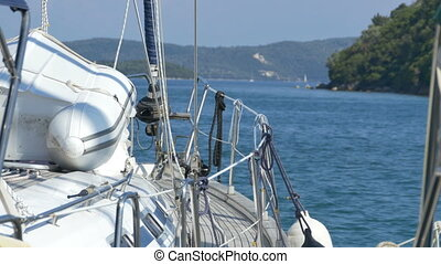 Sailboat in the Harbor - Moored sailboat on the docks in the...