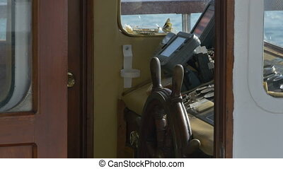 Cabin of a Ship - View of a medium size boat control...