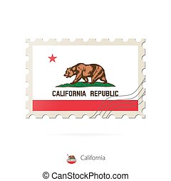 Postage stamp with the image of California state flag.