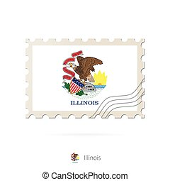 Postage stamp with the image of Illinois state flag.