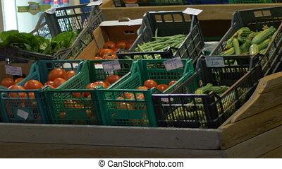 Vegetables Stands at Market - Vegetables stands at market in...
