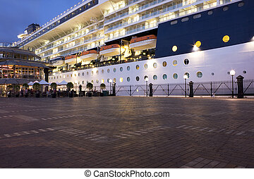 Ship Docked at Sydney Opera Quay - Image of a large ship...