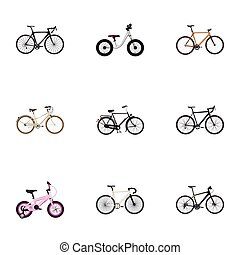 Realistic Old, Timbered, Hybrid Velocipede And Other Vector...