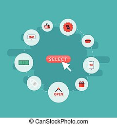 Flat Icons Present, Bag, Shopping And Other Vector Elements. Set Of Store Flat Icons Symbols Also Includes Surprise, Payment, Percentage Objects.