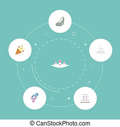 Flat Icons Accessories, Wedding Gown, Sparkler And Other Vector Elements. Set Of Engagement Flat Icons Symbols Also Includes Gender, Sign, Firework Objects.