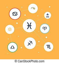 Flat Icons Horoscope, Crab, Augur And Other Vector Elements. Set Of Galaxy Flat Icons Symbols Also Includes Human, Comet, Arrow Objects.