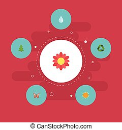 Flat Icons Conservation, Water, Sunshine And Other Vector Elements. Set Of Nature Flat Icons Symbols Also Includes Flora, Water, Recycle Objects.