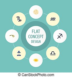 Flat Icons Goat, Horoscope, Augur And Other Vector Elements. Set Of Galaxy Flat Icons Symbols Also Includes Cosmos, Scales, Arrow Objects.