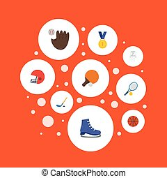 Flat Icons Rocket, Reward, Ice Boot And Other Vector Elements. Set Of Fitness Flat Icons Symbols Also Includes Baseball, Football, Tennis Objects.