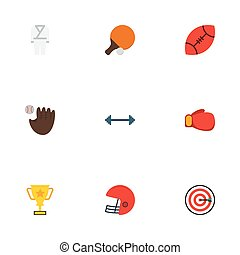 Flat Icons Rugby, American Football, Kettlebells And Other Vector Elements. Set Of Sport Flat Icons Symbols Also Includes Darts, Tennis, Karate Objects.