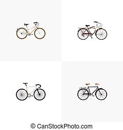 Realistic Fashionable, Old, Road Velocity And Other Vector Elements. Set Of Bike Realistic Symbols Also Includes Fashionable, Retro, Old Objects.