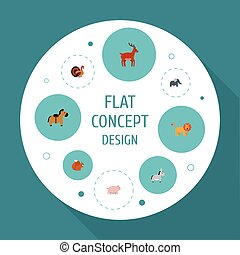 Flat Icons Pony, Gobbler, Jackass And Other Vector Elements....