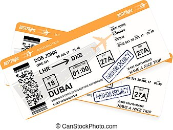 Design of aircraft boarding pass in orange colors