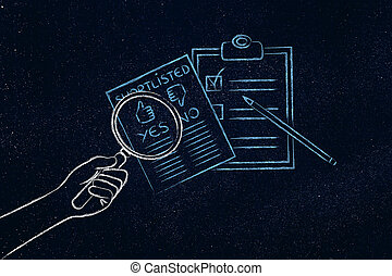 hand with magnifying glass analyzing shortlist, comparing...