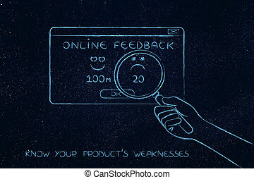 hand with magnifying glass analyzing negative feedback,...