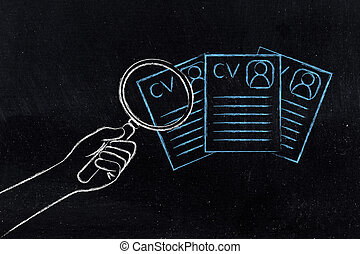 hand with magnifying glass analyzing different resumes,...